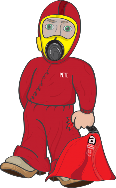PETE red suit